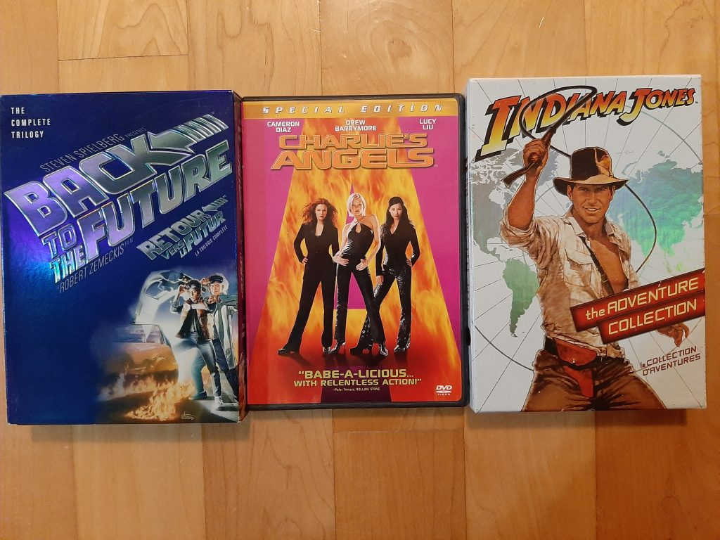 films, Back to the future, Charlie's angels, Indiana Jones