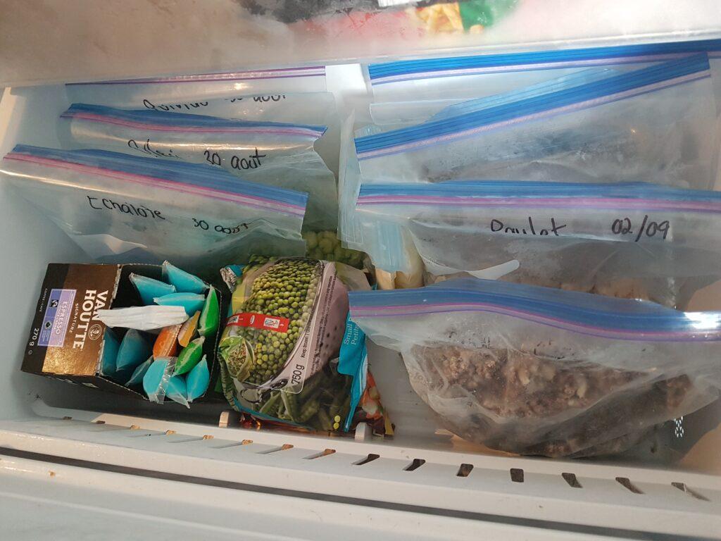 Congélateur, sacs, aliments